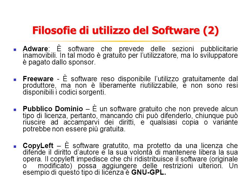 Filosofie di utilizzo del Software (2) Adware: È software che prevede delle sezioni pubblicitarie inamovibili. In tal modo è gratuito per lutilizzator