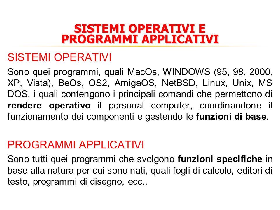 SISTEMI OPERATIVI E PROGRAMMI APPLICATIVI SISTEMI OPERATIVI Sono quei programmi, quali MacOs, WINDOWS (95, 98, 2000, XP, Vista), BeOs, OS2, AmigaOS, NetBSD, Linux, Unix, MS DOS, i quali contengono i principali comandi che permettono di rendere operativo il personal computer, coordinandone il funzionamento dei componenti e gestendo le funzioni di base.