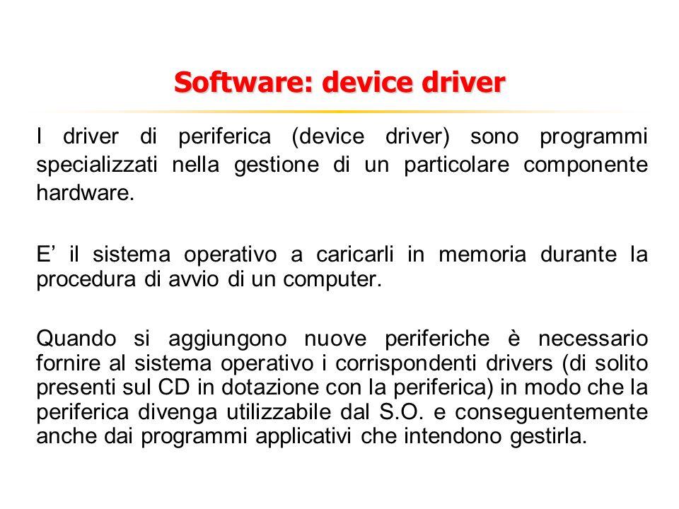 Software: device driver I driver di periferica (device driver) sono programmi specializzati nella gestione di un particolare componente hardware.