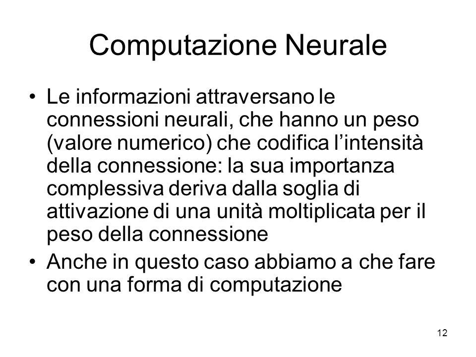 12 Computazione Neurale Le informazioni attraversano le connessioni neurali, che hanno un peso (valore numerico) che codifica lintensità della conness