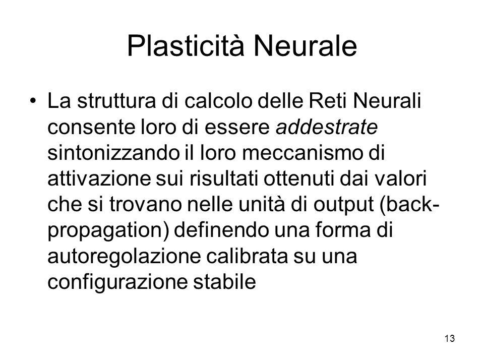 13 Plasticità Neurale La struttura di calcolo delle Reti Neurali consente loro di essere addestrate sintonizzando il loro meccanismo di attivazione su
