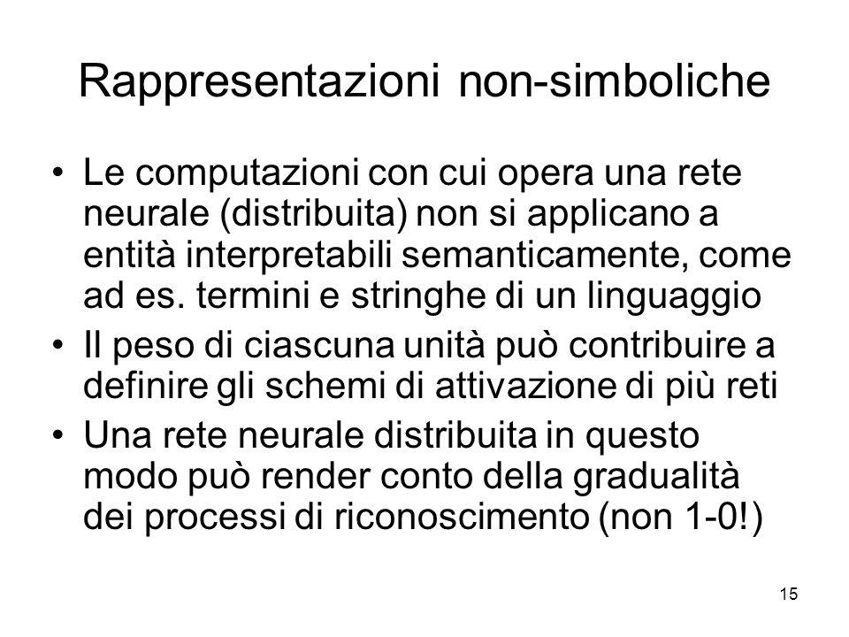 15 Rappresentazioni non-simboliche Le computazioni con cui opera una rete neurale (distribuita) non si applicano a entità interpretabili semanticament