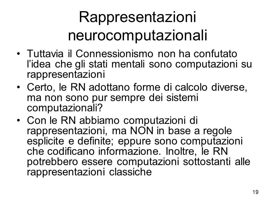 19 Rappresentazioni neurocomputazionali Tuttavia il Connessionismo non ha confutato lidea che gli stati mentali sono computazioni su rappresentazioni