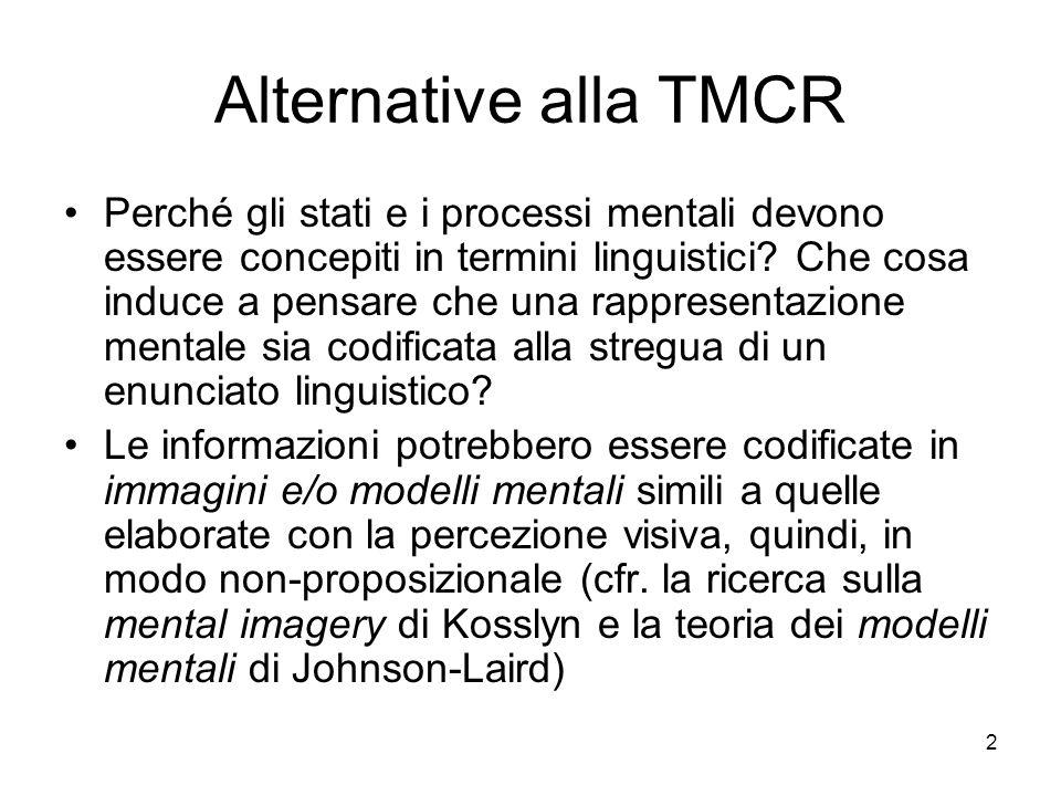 2 Alternative alla TMCR Perché gli stati e i processi mentali devono essere concepiti in termini linguistici? Che cosa induce a pensare che una rappre