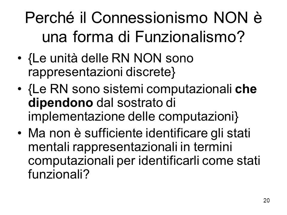 20 Perché il Connessionismo NON è una forma di Funzionalismo? {Le unità delle RN NON sono rappresentazioni discrete} {Le RN sono sistemi computazional