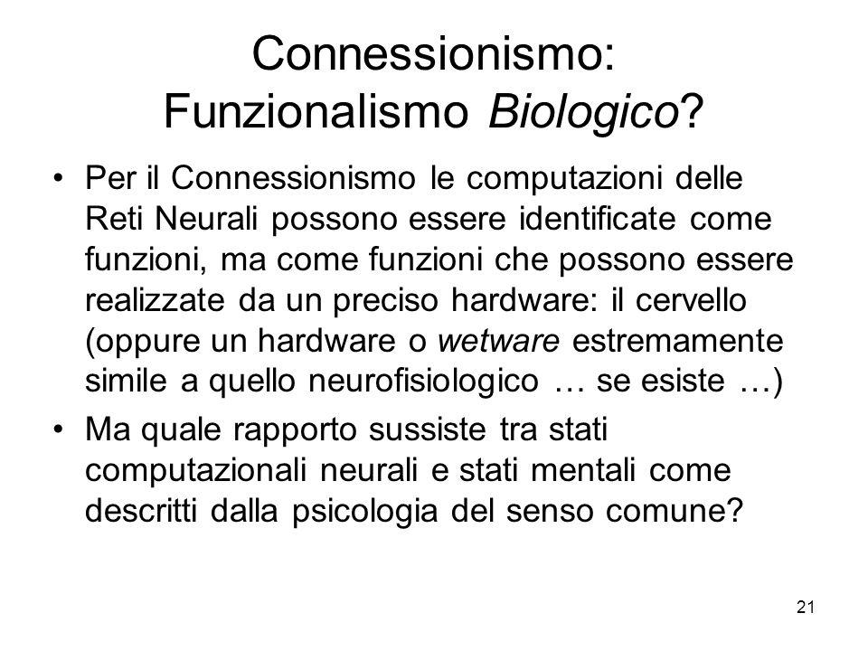 21 Connessionismo: Funzionalismo Biologico? Per il Connessionismo le computazioni delle Reti Neurali possono essere identificate come funzioni, ma com