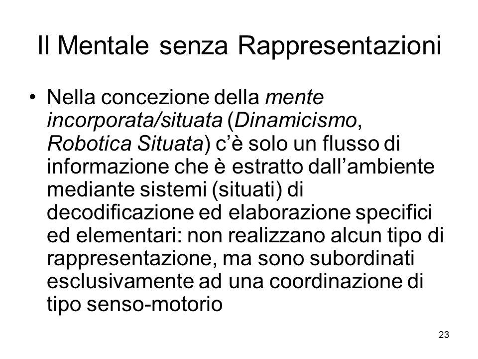 23 Il Mentale senza Rappresentazioni Nella concezione della mente incorporata/situata (Dinamicismo, Robotica Situata) cè solo un flusso di informazion