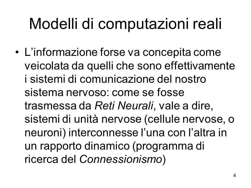 4 Modelli di computazioni reali Linformazione forse va concepita come veicolata da quelli che sono effettivamente i sistemi di comunicazione del nostr
