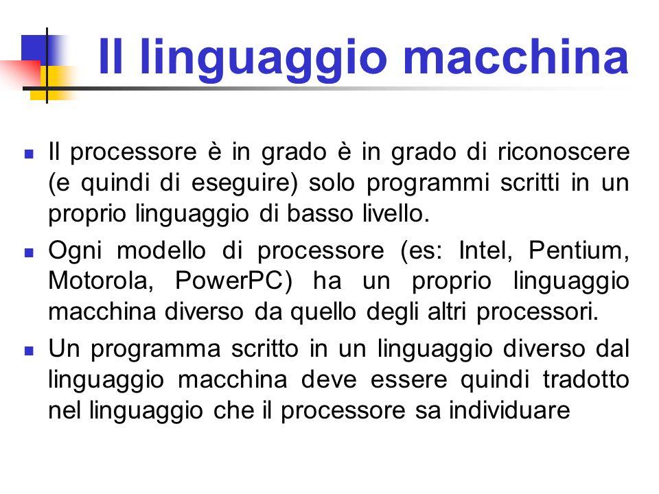Il linguaggio macchina Il processore è in grado è in grado di riconoscere (e quindi di eseguire) solo programmi scritti in un proprio linguaggio di ba
