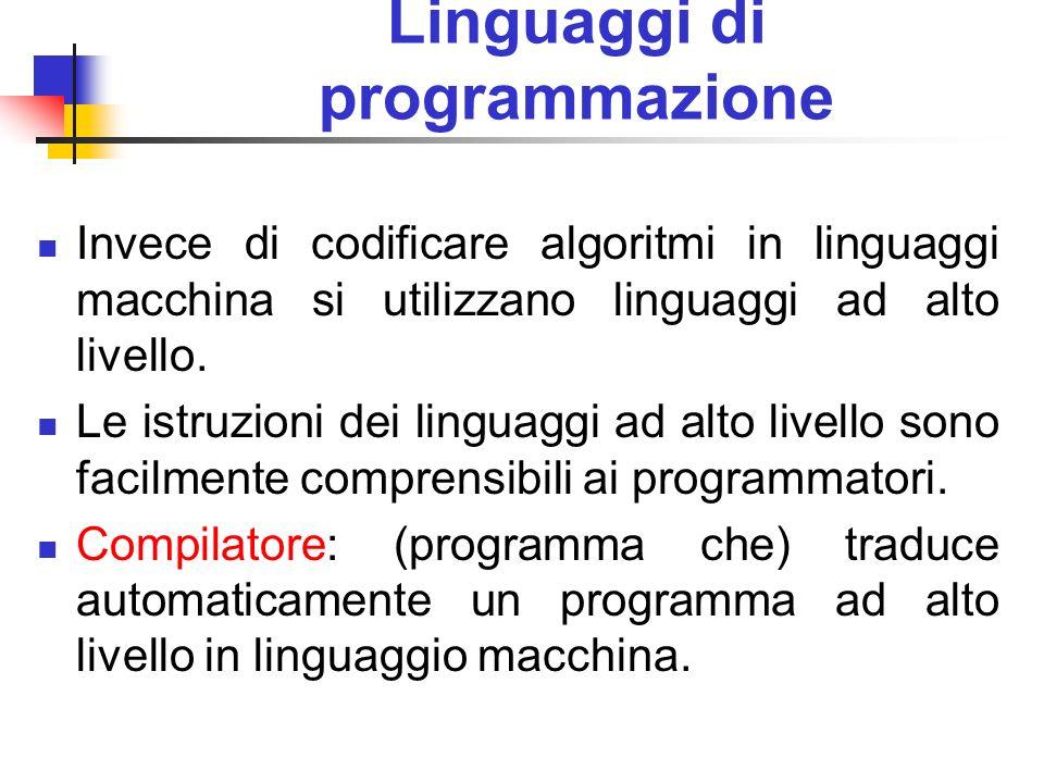 Linguaggi di programmazione Invece di codificare algoritmi in linguaggi macchina si utilizzano linguaggi ad alto livello. Le istruzioni dei linguaggi