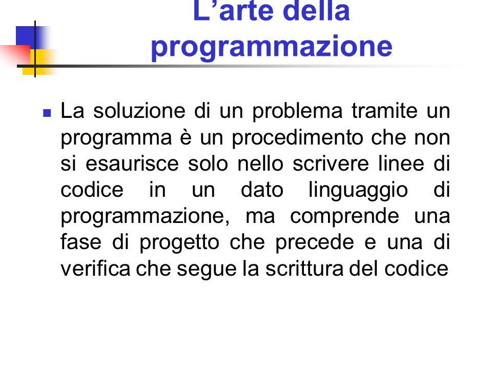 Larte della programmazione La soluzione di un problema tramite un programma è un procedimento che non si esaurisce solo nello scrivere linee di codice