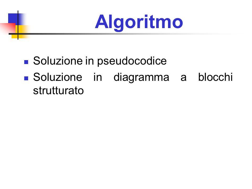 Algoritmo Soluzione in pseudocodice Soluzione in diagramma a blocchi strutturato