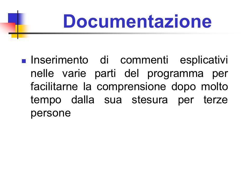 Documentazione Inserimento di commenti esplicativi nelle varie parti del programma per facilitarne la comprensione dopo molto tempo dalla sua stesura