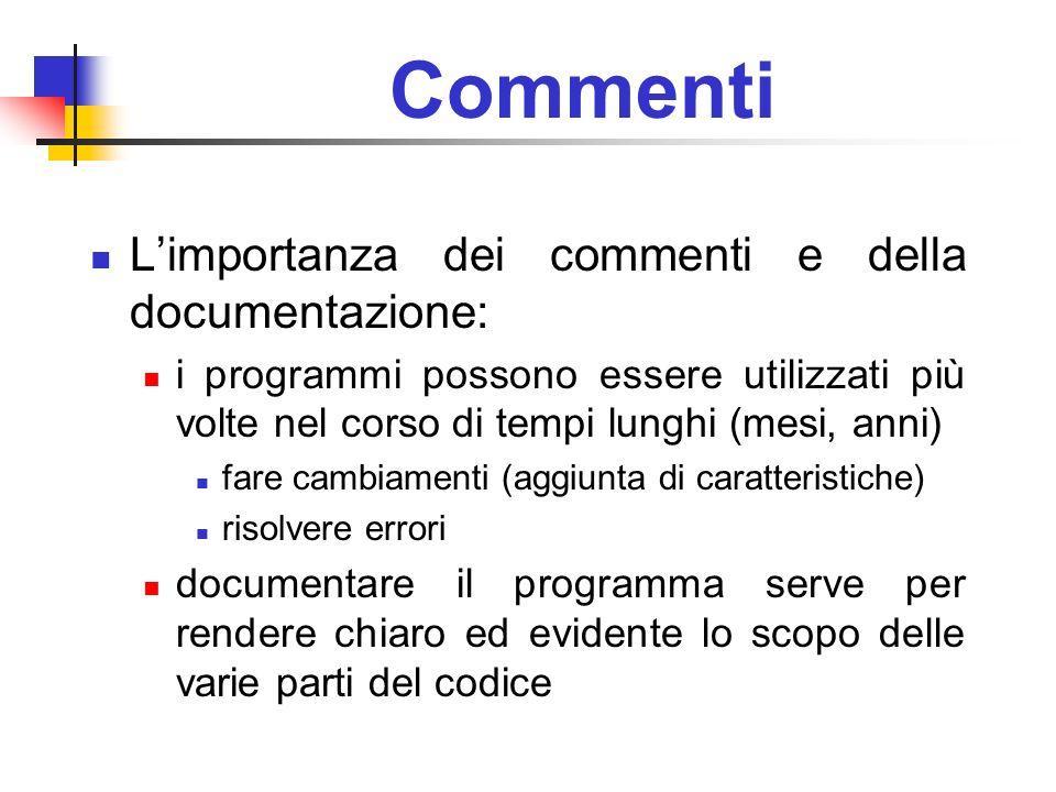Commenti Limportanza dei commenti e della documentazione: i programmi possono essere utilizzati più volte nel corso di tempi lunghi (mesi, anni) fare