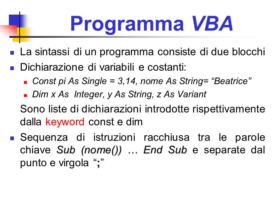 Programma VBA La sintassi di un programma consiste di due blocchi Dichiarazione di variabili e costanti: Const pi As Single = 3,14, nome As String= Be