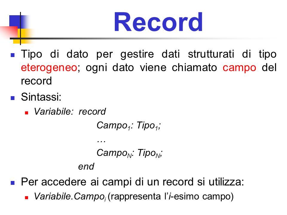 Record Tipo di dato per gestire dati strutturati di tipo eterogeneo; ogni dato viene chiamato campo del record Sintassi: Variabile: record Campo 1 : T