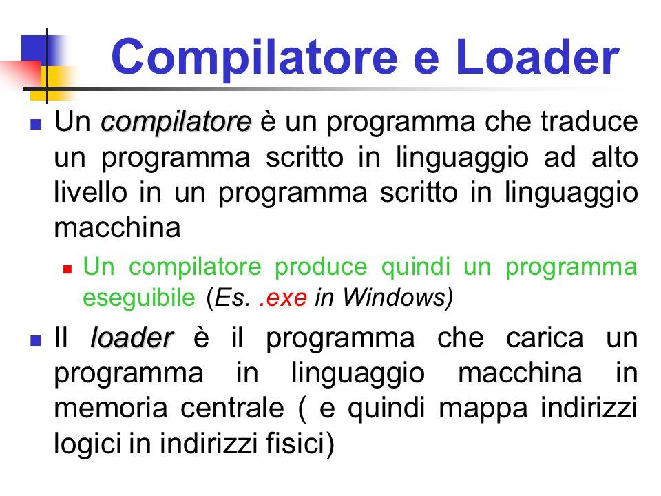 Compilatore e Loader compilatore Un compilatore è un programma che traduce un programma scritto in linguaggio ad alto livello in un programma scritto