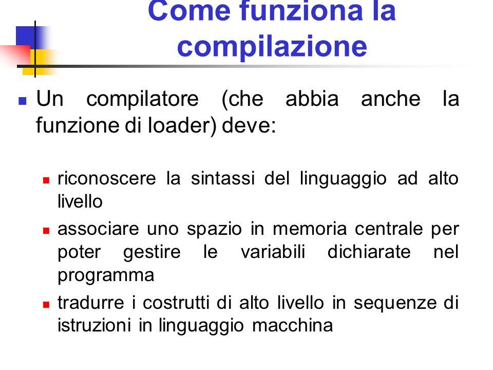 Come funziona la compilazione Un compilatore (che abbia anche la funzione di loader) deve: riconoscere la sintassi del linguaggio ad alto livello asso