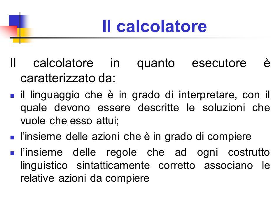 Il calcolatore Il calcolatore in quanto esecutore è caratterizzato da: il linguaggio che è in grado di interpretare, con il quale devono essere descri