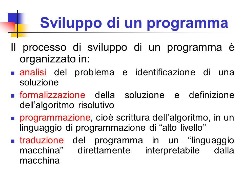 Sviluppo di un programma Il processo di sviluppo di un programma è organizzato in: analisi del problema e identificazione di una soluzione formalizzaz