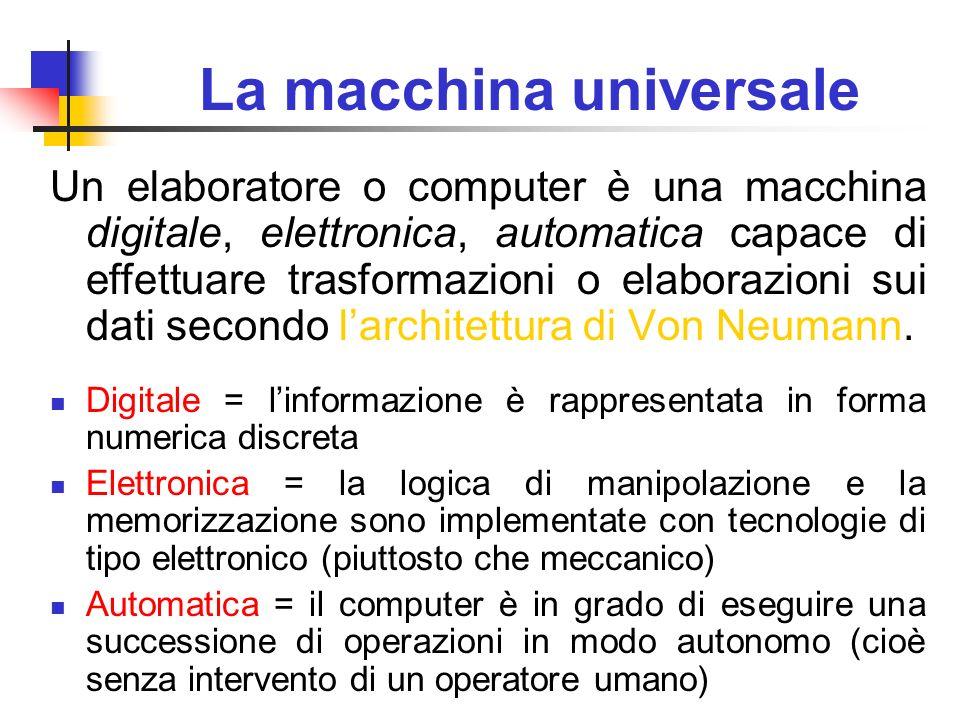 La macchina universale Un elaboratore o computer è una macchina digitale, elettronica, automatica capace di effettuare trasformazioni o elaborazioni s