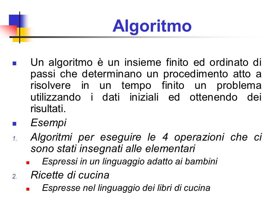Algoritmo Un algoritmo è un insieme finito ed ordinato di passi che determinano un procedimento atto a risolvere in un tempo finito un problema utiliz