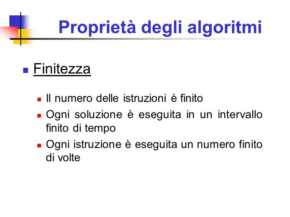 Proprietà degli algoritmi Finitezza Il numero delle istruzioni è finito Ogni soluzione è eseguita in un intervallo finito di tempo Ogni istruzione è e