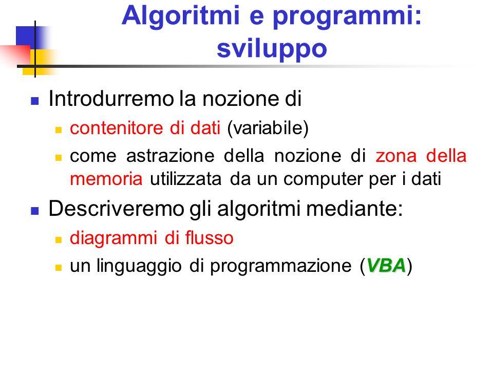 Algoritmi e programmi: sviluppo Introdurremo la nozione di contenitore di dati (variabile) come astrazione della nozione di zona della memoria utilizz