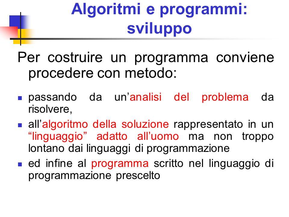 Algoritmi e programmi: sviluppo Per costruire un programma conviene procedere con metodo: passando da unanalisi del problema da risolvere, allalgoritm
