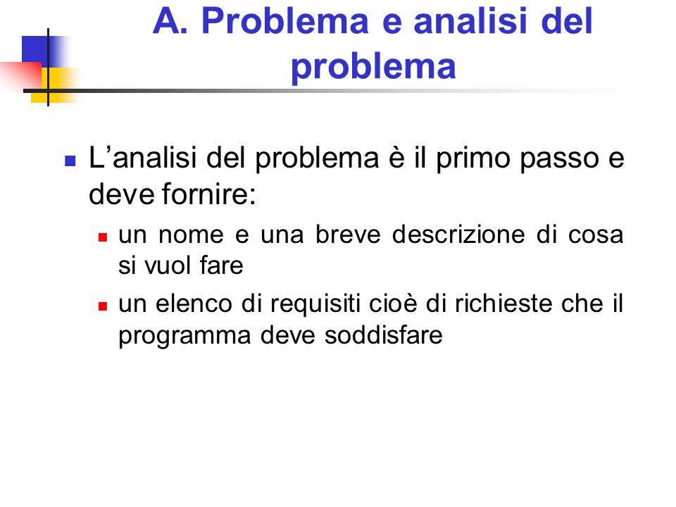 A. Problema e analisi del problema Lanalisi del problema è il primo passo e deve fornire: un nome e una breve descrizione di cosa si vuol fare un elen