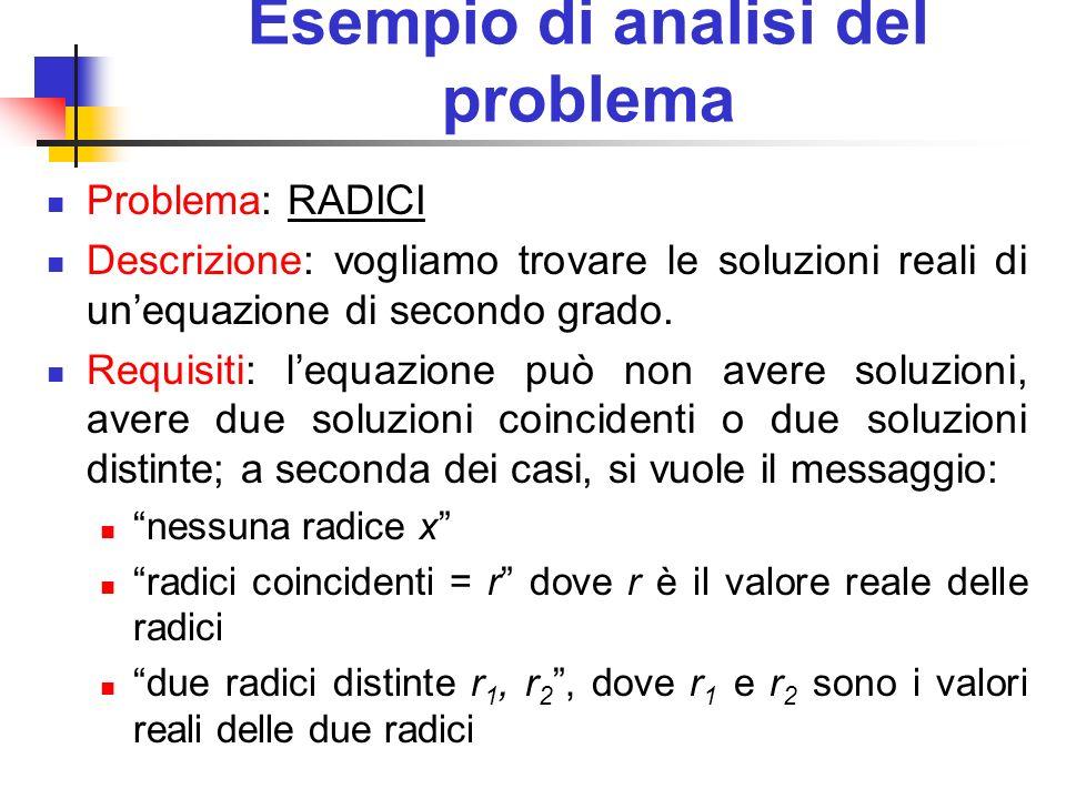 Esempio di analisi del problema Problema: RADICI Descrizione: vogliamo trovare le soluzioni reali di unequazione di secondo grado. Requisiti: lequazio