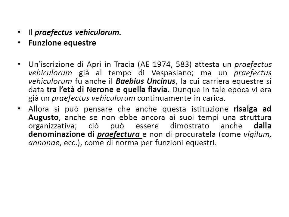 Il praefectus vehiculorum. Funzione equestre Uniscrizione di Apri in Tracia (AE 1974, 583) attesta un praefectus vehiculorum già al tempo di Vespasian