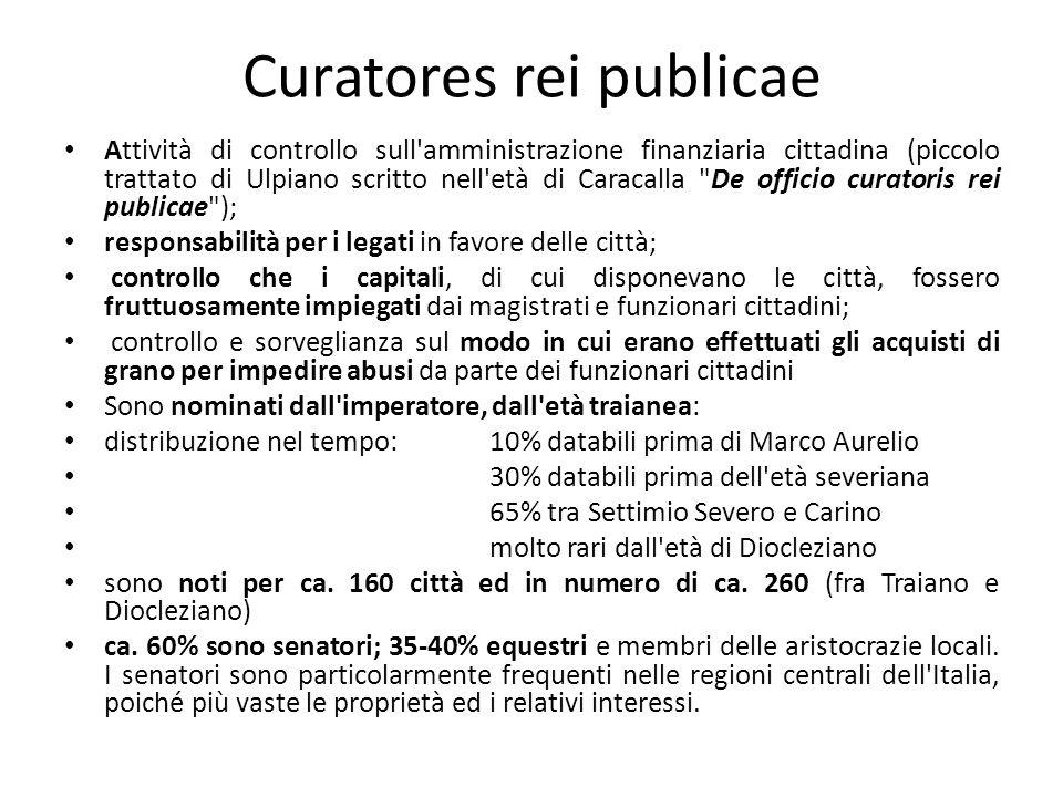 Curatores rei publicae Attività di controllo sull'amministrazione finanziaria cittadina (piccolo trattato di Ulpiano scritto nell'età di Caracalla
