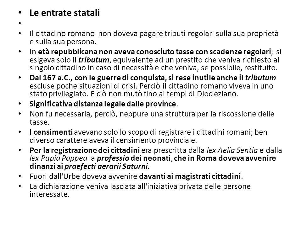 Le entrate statali Il cittadino romano non doveva pagare tributi regolari sulla sua proprietà e sulla sua persona. In età repubblicana non aveva conos