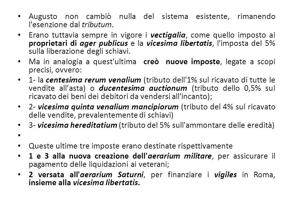 Augusto non cambiò nulla del sistema esistente, rimanendo l'esenzione dal tributum. Erano tuttavia sempre in vigore i vectigalia, come quello imposto