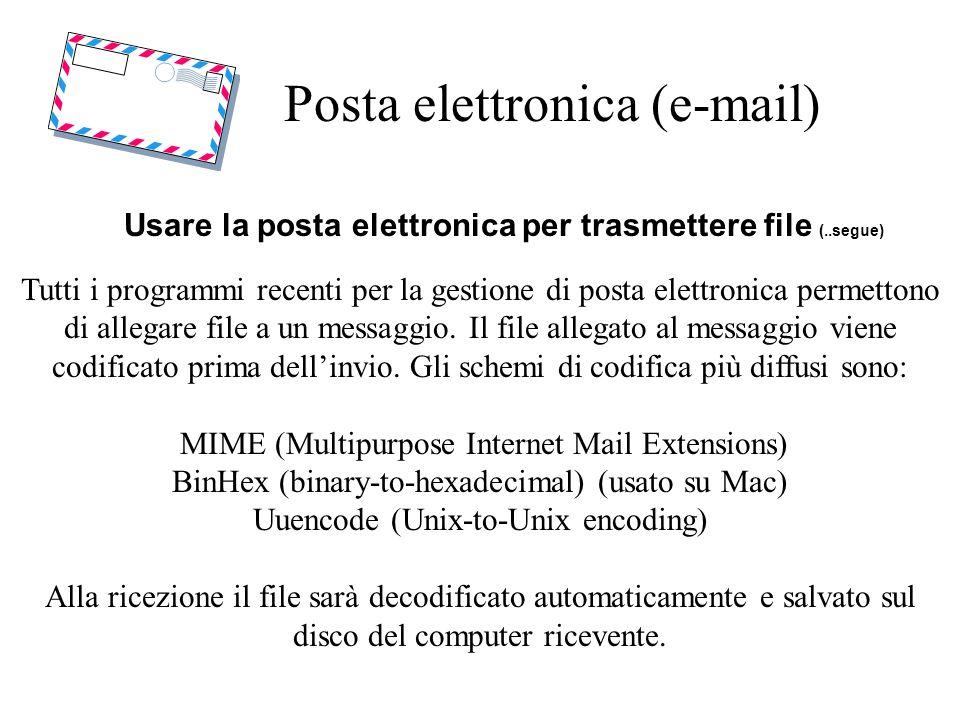 Posta elettronica (e-mail) Usare la posta elettronica per trasmettere file (..segue) Tutti i programmi recenti per la gestione di posta elettronica permettono di allegare file a un messaggio.
