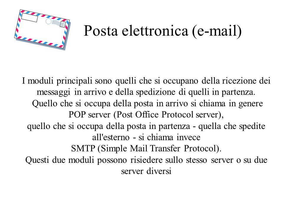 Posta elettronica (e-mail) I moduli principali sono quelli che si occupano della ricezione dei messaggi in arrivo e della spedizione di quelli in part