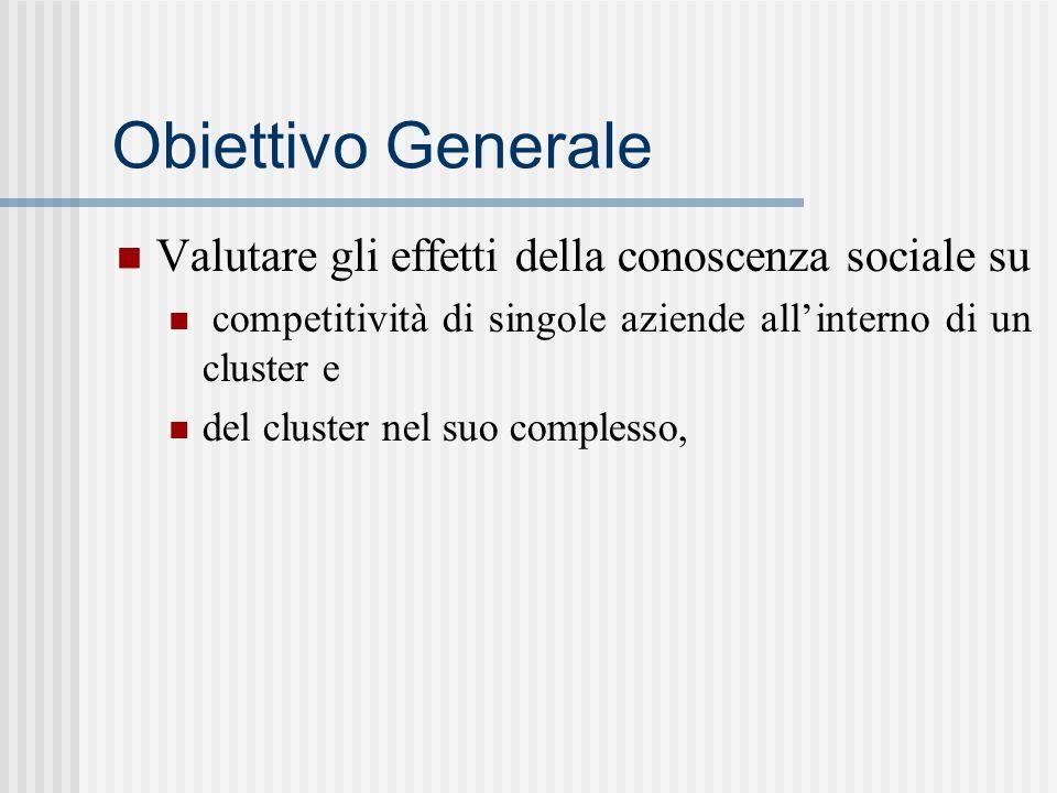 Obiettivo Generale Valutare gli effetti della conoscenza sociale su competitività di singole aziende allinterno di un cluster e del cluster nel suo co