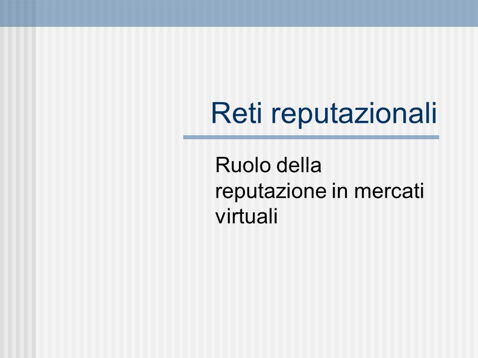 Reti reputazionali Ruolo della reputazione in mercati virtuali
