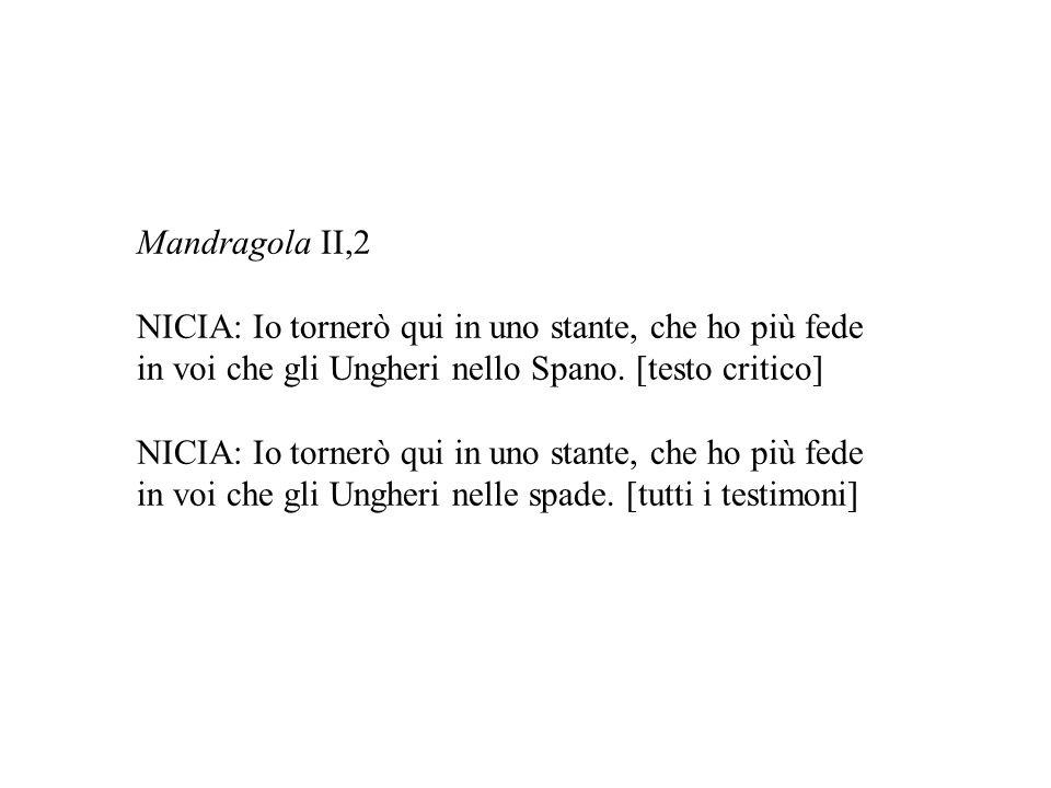 Mandragola II,2 NICIA: Io tornerò qui in uno stante, che ho più fede in voi che gli Ungheri nello Spano. [testo critico] NICIA: Io tornerò qui in uno