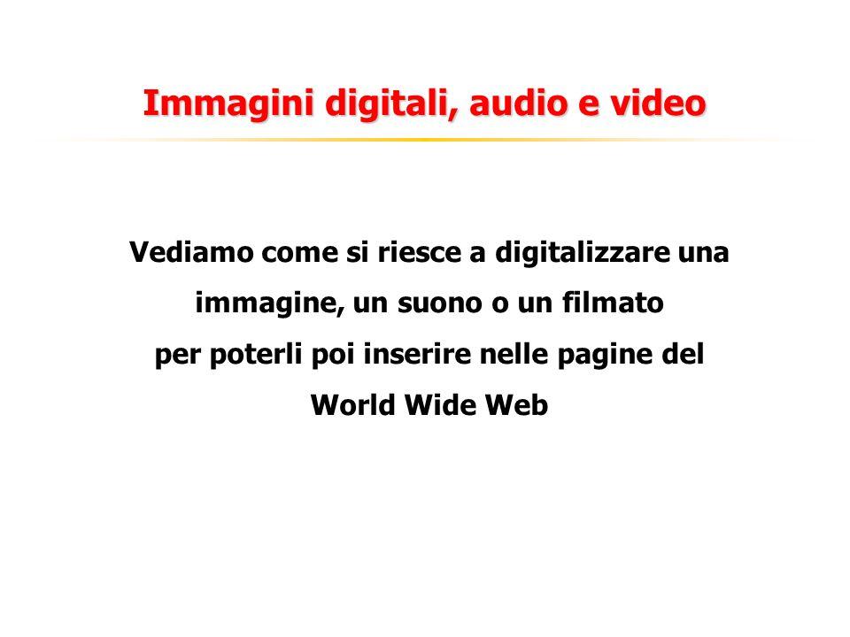Immagini digitali, audio e video Vediamo come si riesce a digitalizzare una immagine, un suono o un filmato per poterli poi inserire nelle pagine del