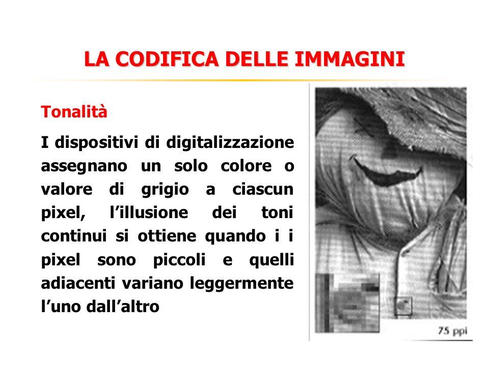 LA CODIFICA DELLE IMMAGINI Tonalità I dispositivi di digitalizzazione assegnano un solo colore o valore di grigio a ciascun pixel, lillusione dei toni