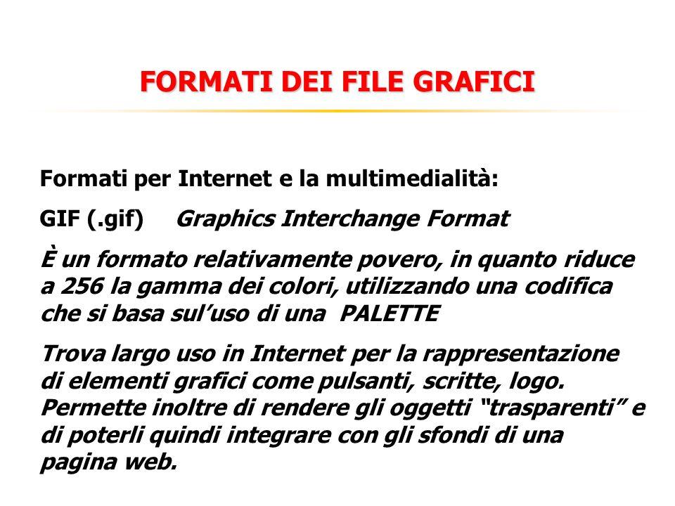 FORMATI DEI FILE GRAFICI Formati per Internet e la multimedialità: GIF (.gif)Graphics Interchange Format È un formato relativamente povero, in quanto