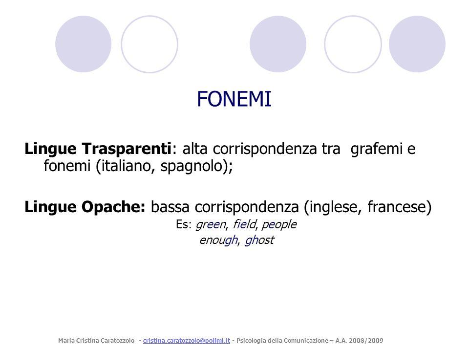 Lingue Trasparenti: alta corrispondenza tra grafemi e fonemi (italiano, spagnolo); Lingue Opache: bassa corrispondenza (inglese, francese) Es: green,