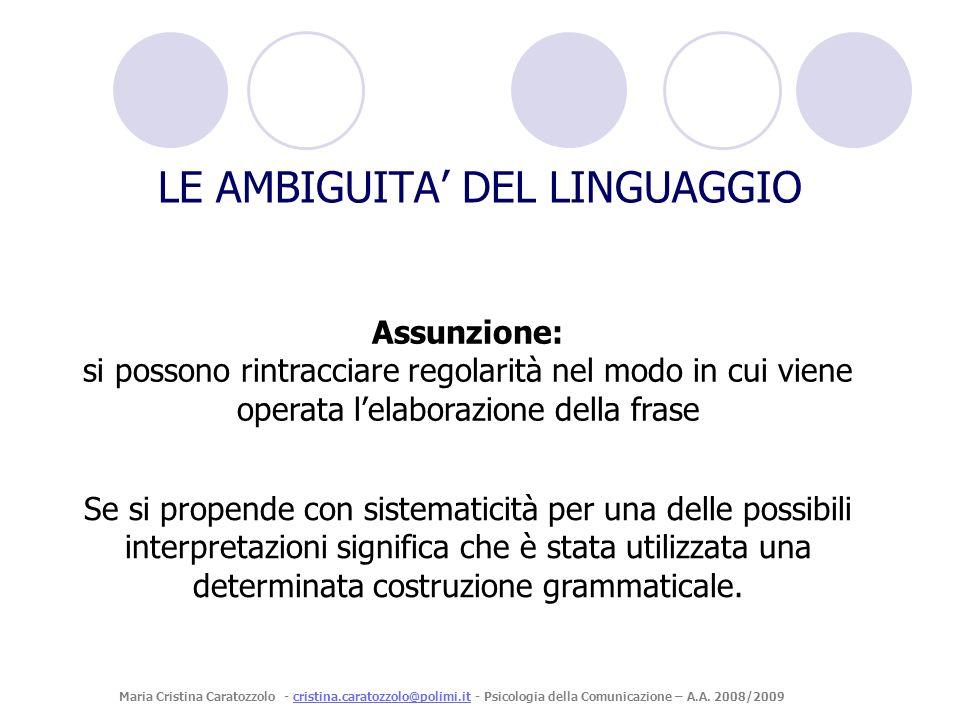 Assunzione: si possono rintracciare regolarità nel modo in cui viene operata lelaborazione della frase LE AMBIGUITA DEL LINGUAGGIO Se si propende con