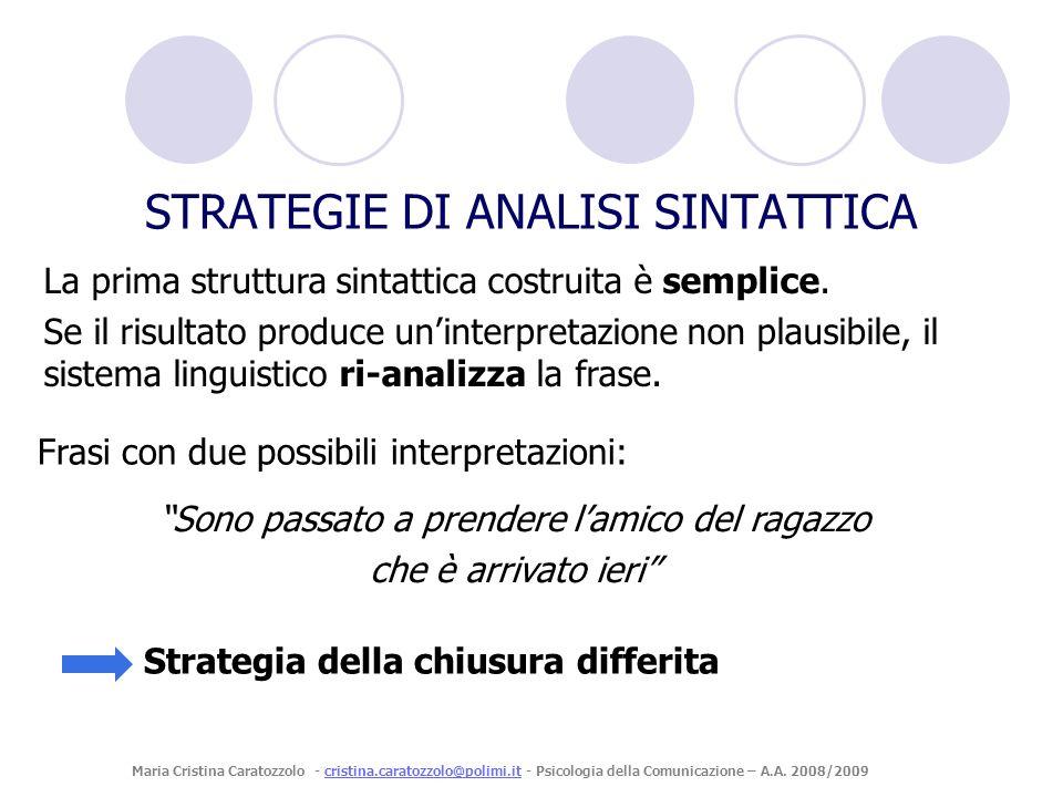 La prima struttura sintattica costruita è semplice. Se il risultato produce uninterpretazione non plausibile, il sistema linguistico ri-analizza la fr