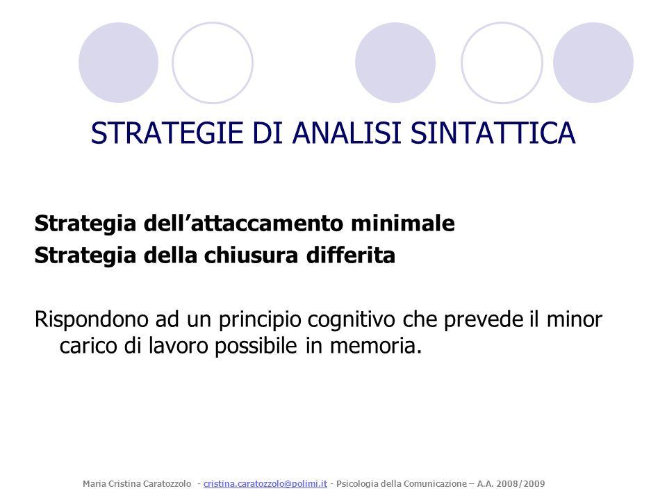 Strategia dellattaccamento minimale Strategia della chiusura differita Rispondono ad un principio cognitivo che prevede il minor carico di lavoro poss