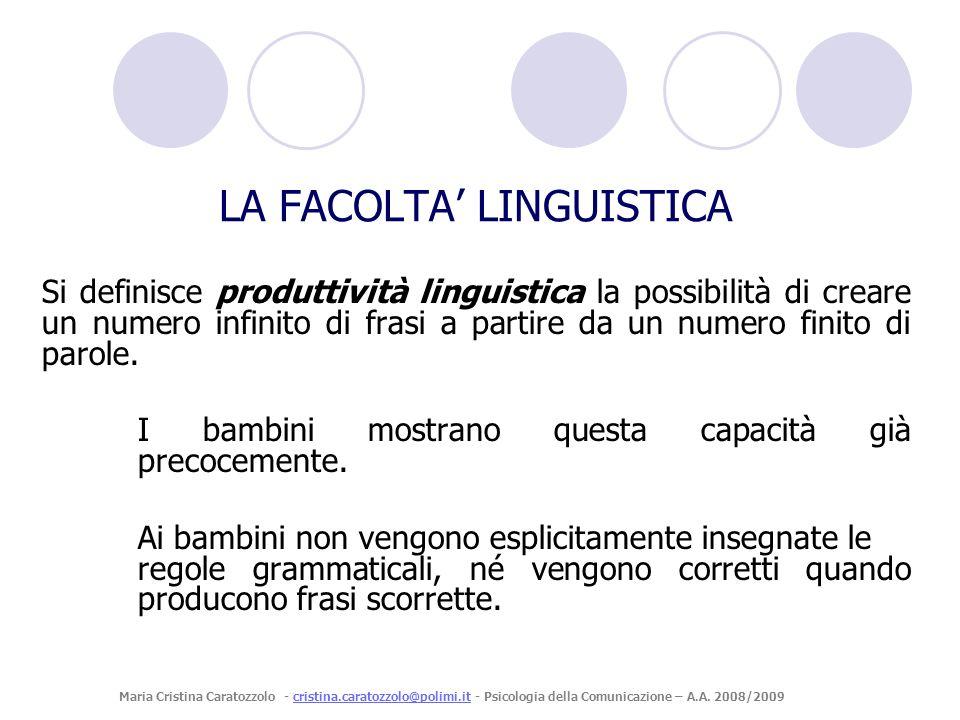 Si definisce produttività linguistica la possibilità di creare un numero infinito di frasi a partire da un numero finito di parole. I bambini mostrano