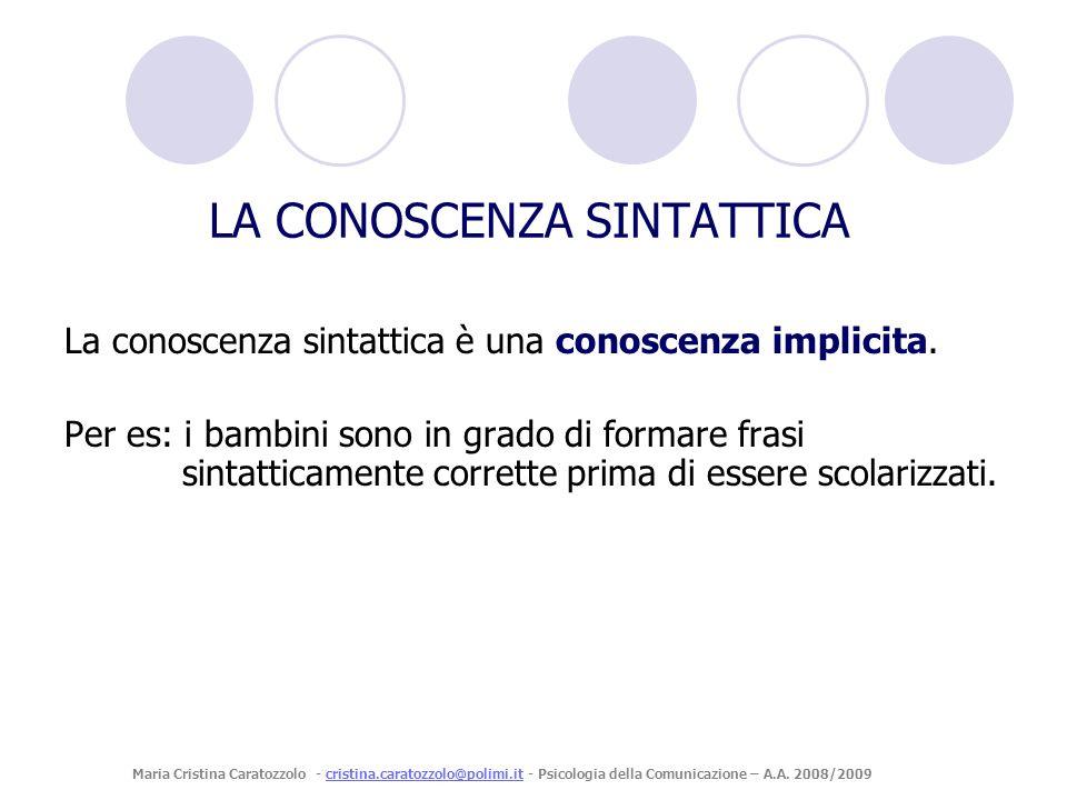 La conoscenza sintattica è una conoscenza implicita. Per es: i bambini sono in grado di formare frasi sintatticamente corrette prima di essere scolari