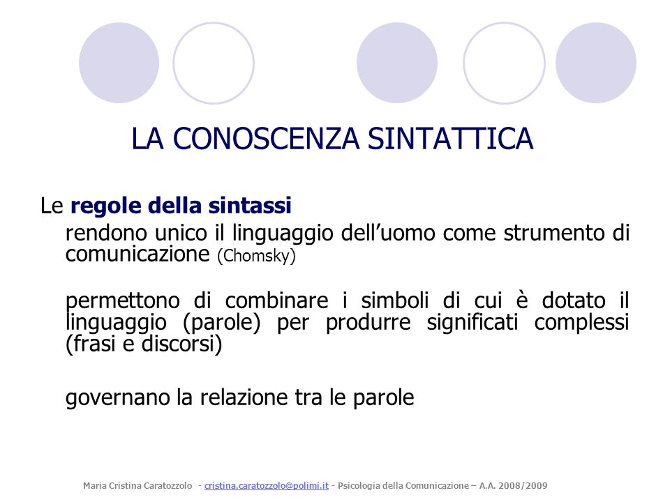 Le regole della sintassi rendono unico il linguaggio delluomo come strumento di comunicazione (Chomsky) permettono di combinare i simboli di cui è dot